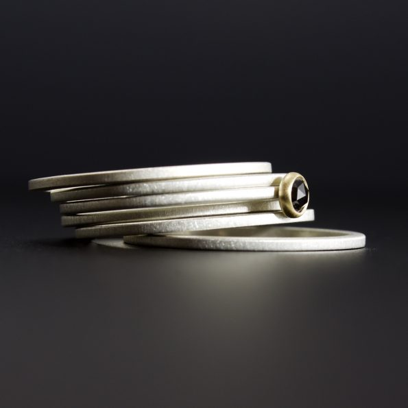 stacking rings with black diamond