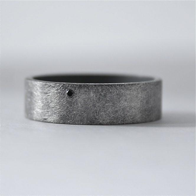 rough finish black diamond ring