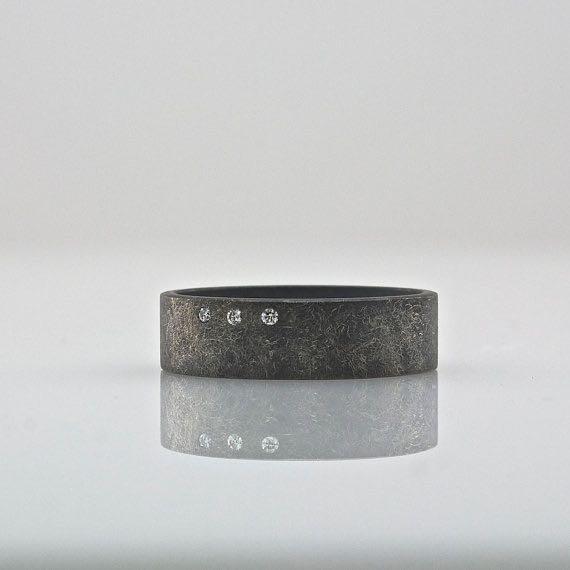 oxidized ring with diamonds