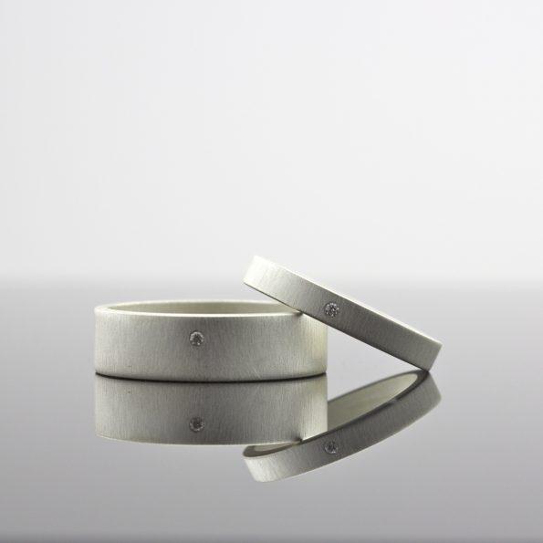 white diamond matching ring set