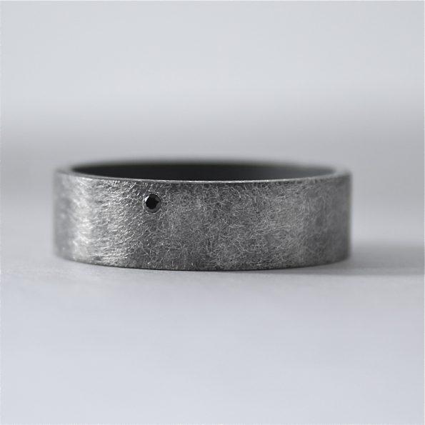 handmade ring with black diamond