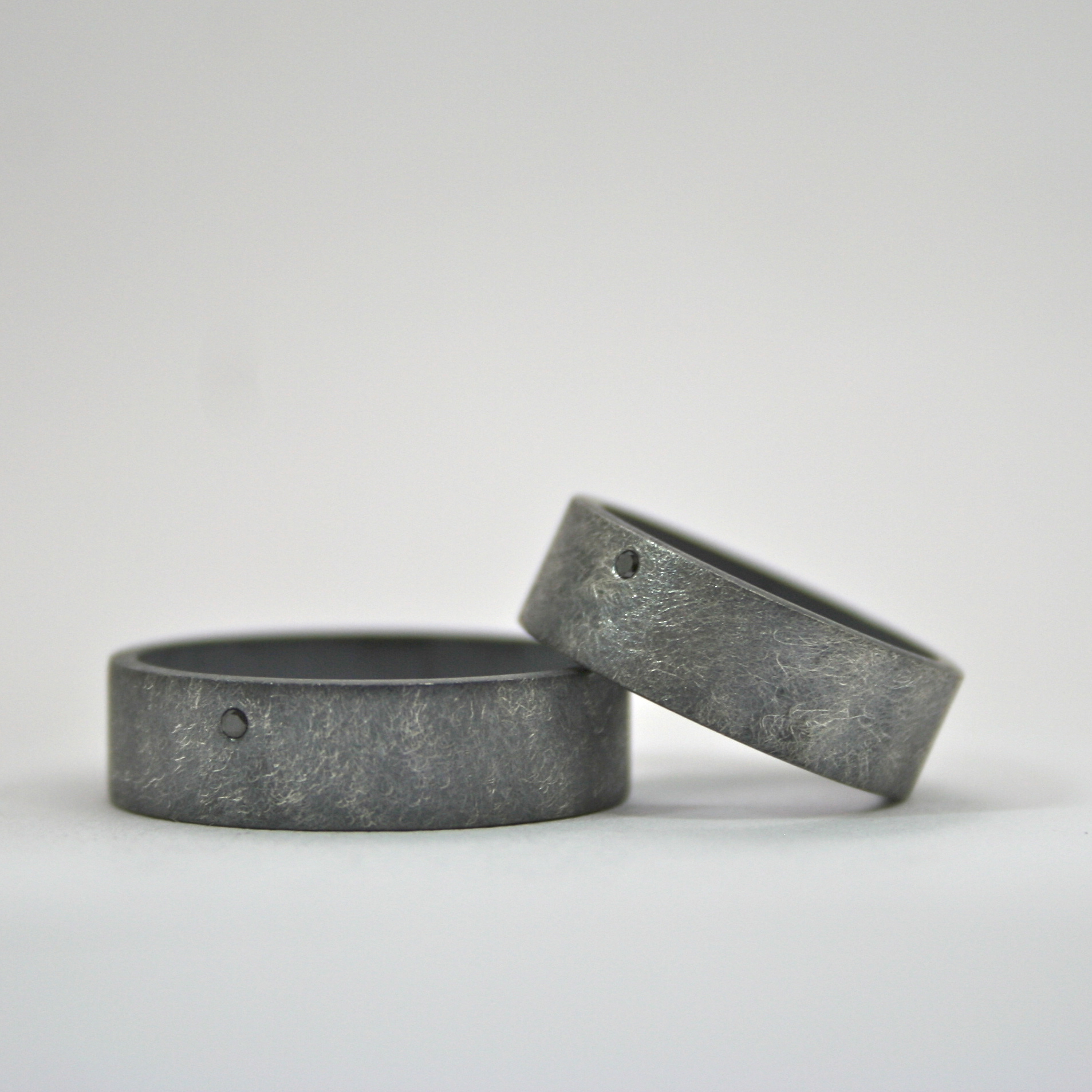 rough finish oxidized matching ring set sterling with flush set