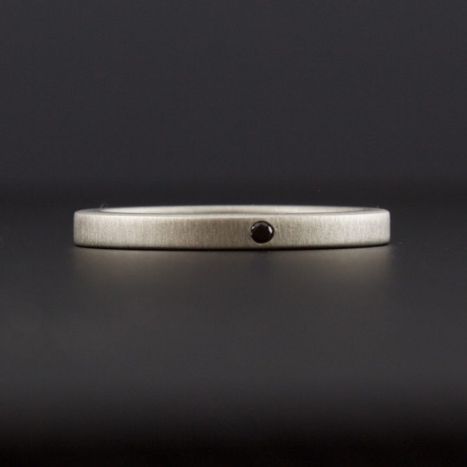 flush set black diamond ring