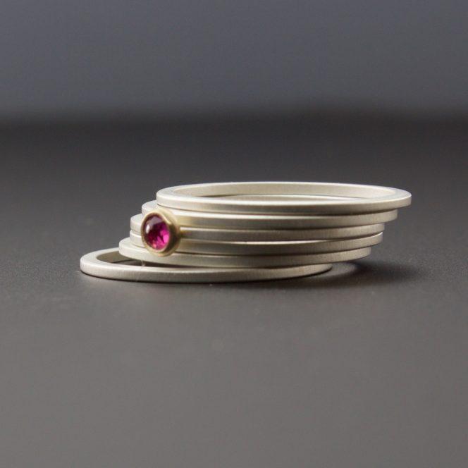 rose cut ruby bezel set rings
