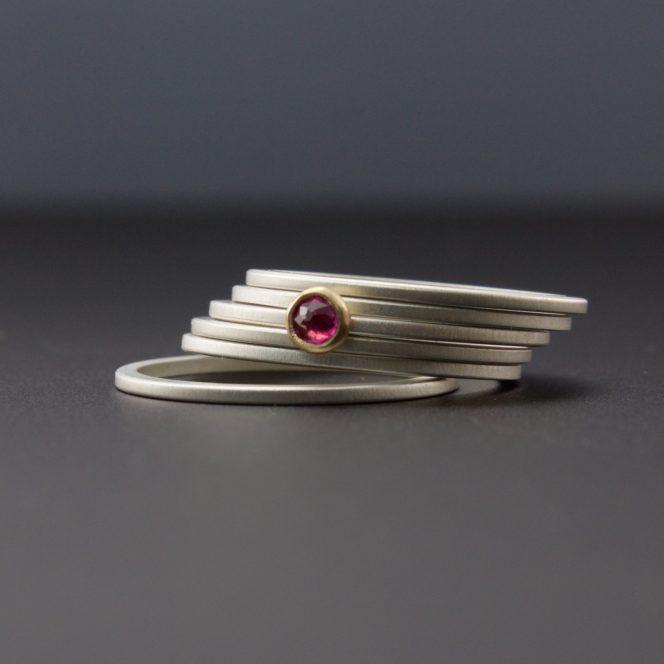 bezel set rose cut ruby stacking rings