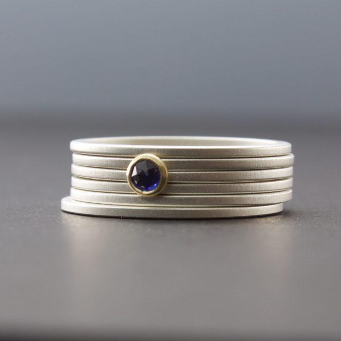 rose cut blue sapphire stacking ring set