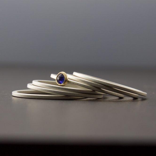bezel set sapphire ring set