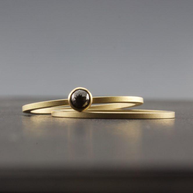 artisan rose cut black diamond ring set