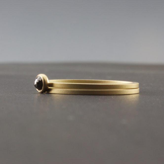 rose cut black diamond 18 karat gold rings