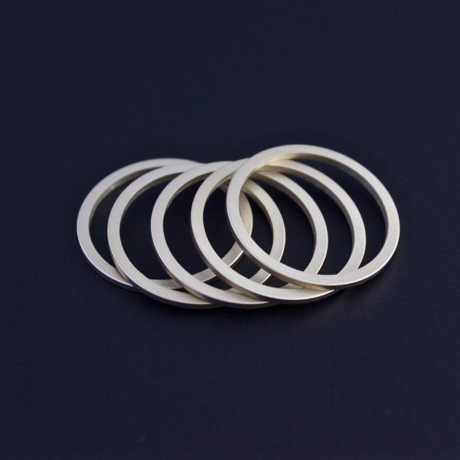Handcrafted slender gold ring set